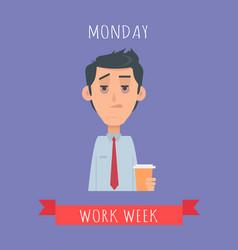 work week emotive concept in flat design vector image