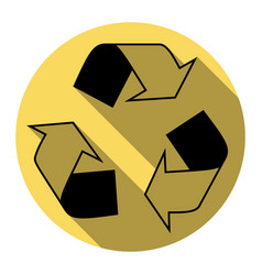 Recycle logo concept  flat black icon with vector