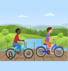 White and african kids riding bikes child riding vector