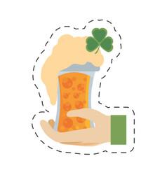 cartoon hand leprechaun holding glass beer st vector image