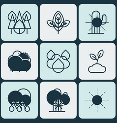 Set of 9 ecology icons includes cactus rain vector