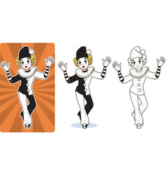 Mime white clown circus character vector