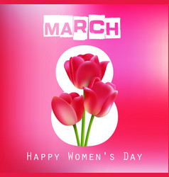 Happy women day with red tulips on pink background vector