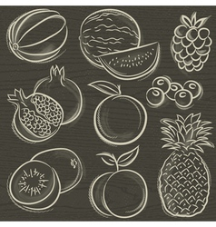 Set of fruits melon watermelon blackberry peach vector