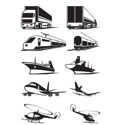 Cargo transportation in perspective vector
