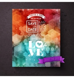 Artistic save the date wedding invitation template vector
