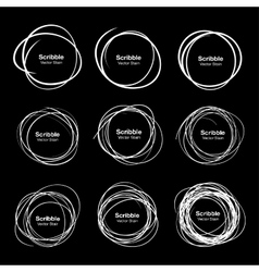 Set of 9 white hand drawn scribble circles vector