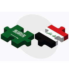 Saudi arabia and iraq flags vector