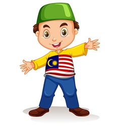 Malaysian boy wearing shirt and pants vector
