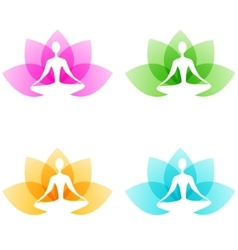 Yoga icons vector