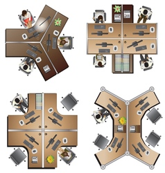 Office furniture top view set 8 vector