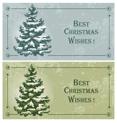 Vintage christmas cards with spruce in the snow vector