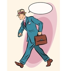Strong businessman goes forward vector
