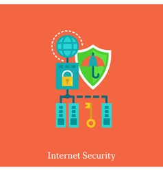Internet security and local nets flat concept vector