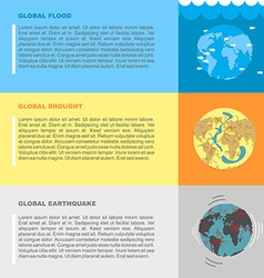 Earthquake flood and drought natural disasters on vector