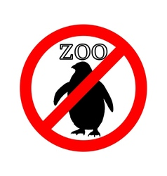 Penguin in zoo prohibited vector