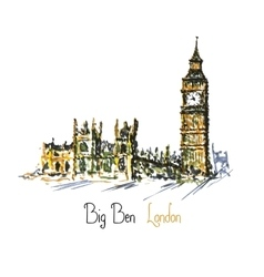 Watercolor clock tower big ben palace of vector
