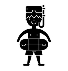 boy with swimming mask in pool icon vector image vector image
