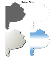 Buenos aires blank outline map set vector