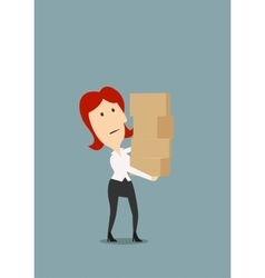 Businesswoman carrying stack of boxes vector