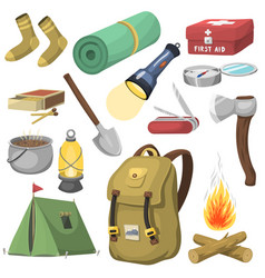 Camping outdoor travel equipment cartoon style vector
