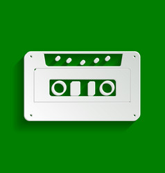Cassette icon audio tape sign paper vector