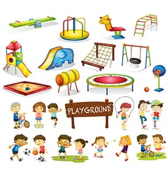 Children playing and playground set vector