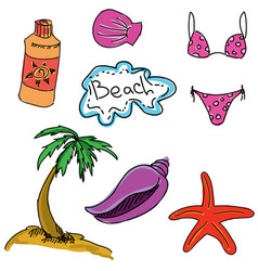 Drawn colored picture with beach vector
