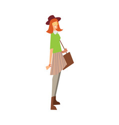 Elegant fashion girl with bag and hat vector