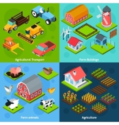Farm 4 isometric square icons coposition vector image vector image