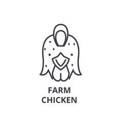 farm chicken hen line icon outline sign linear vector image