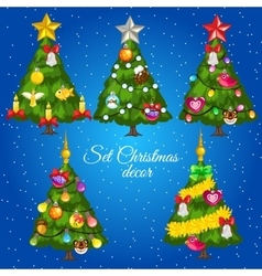 Five green Christmas trees with text vector image vector image