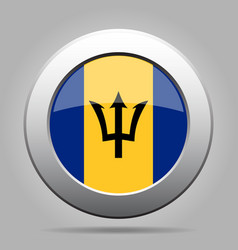 flag of barbados shiny metal gray round button vector image vector image