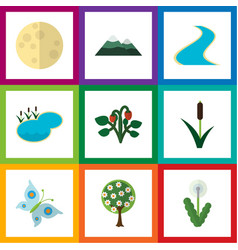 Flat icon nature set of lunar floral tributary vector