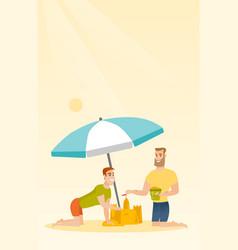 Friends building a sandcastle on the beach vector