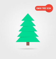 Green xmas tree icon with shadow vector
