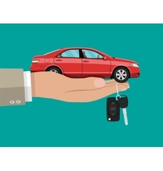 Hand with red car and keys vector image