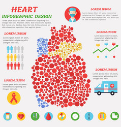 heart infographic poster with symbols text and vector image vector image