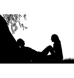 Lovers near a lake under a willow vector image