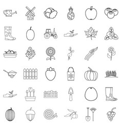 plant icons set outline style vector image