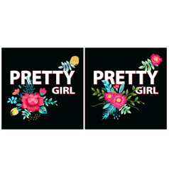 pretty girl posters flowers vector image