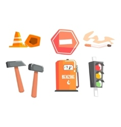 Road sign cones hammers cigarette petrol vector