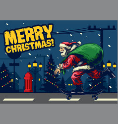 Santa claus ride skateboard around city vector