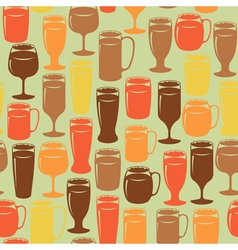 Seamless background with beer glasses vector image