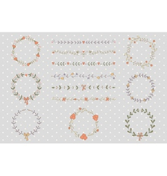 Set of hand drawn wreaths and borders vector image vector image