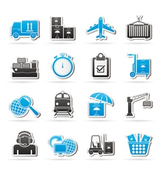 shipping and logistic icons vector image
