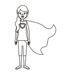 Silhouette cartoon full body super hero woman with vector