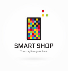 Smartphone or tablet pixel colorful logo vector