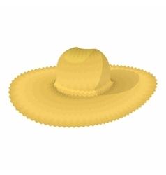 Straw hat cartoon icon vector image vector image