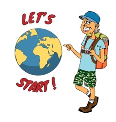 Young backpacker ready to journey around the globe vector image vector image